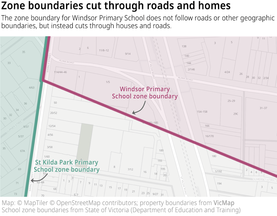 Zone boundaries cut through roads and homes